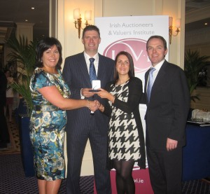 Pictured left to right are: IAVI President Ms Aine Myler, Chairman of Sunderland AFC Mr Niall Quinn, medal winner Marie Mc Donald and Shane Flanagan, Director DNG Flanagan Ford.